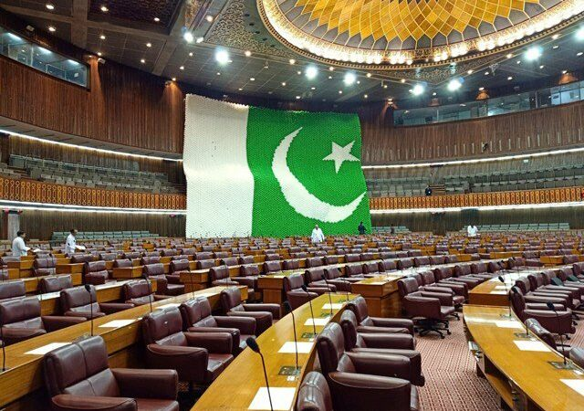 National Assembly decorated by the Hindu community for 14th August