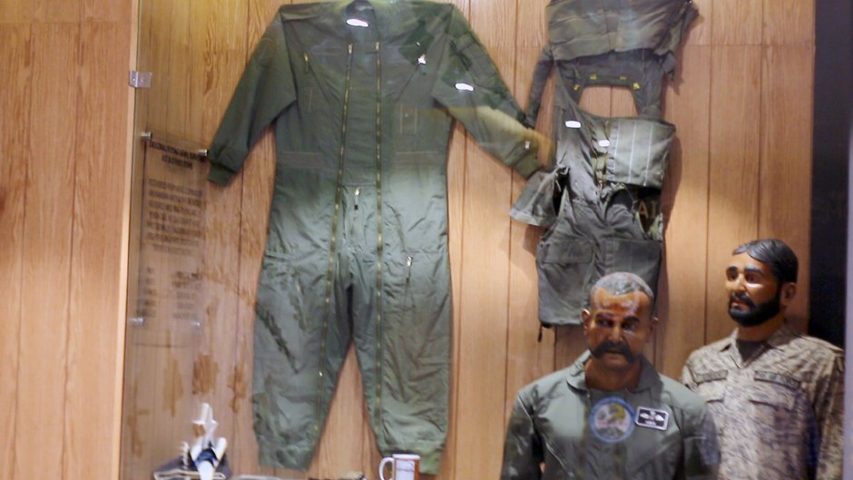 Abhinandan's mannequin, remains of jet and tea cup displayed in PAF Museum