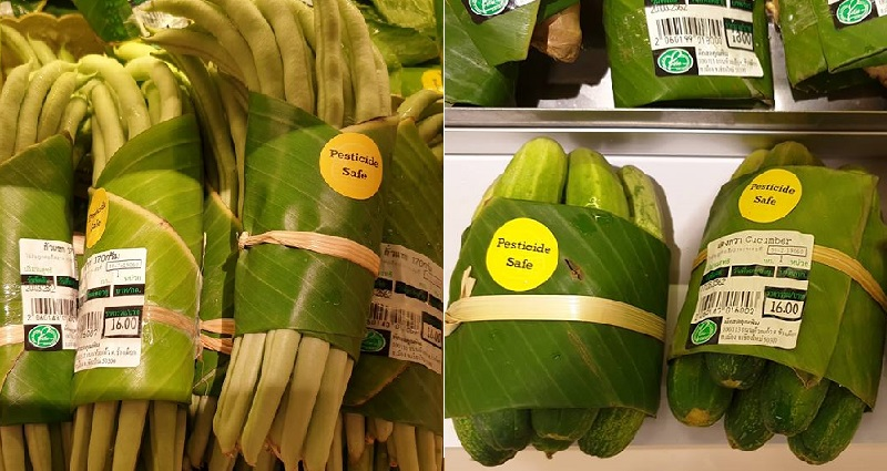 Supermarkets in Asia are now using banana leaves for packaging