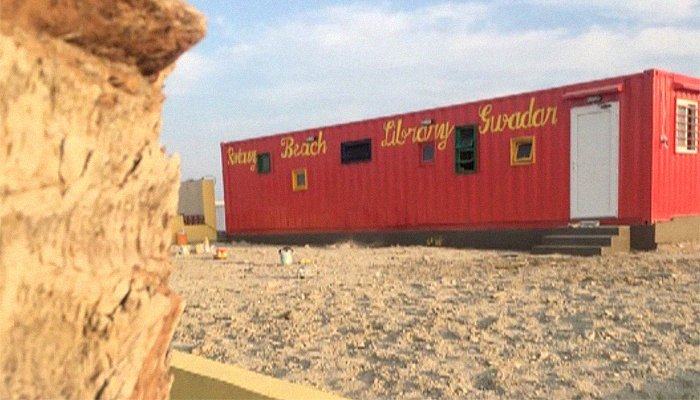 Seaside container library pops up at Gwadar Beach