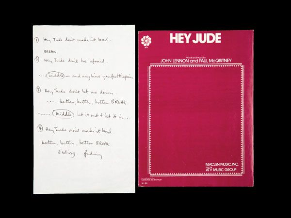 Handwritten 'Hey Jude' lyrics sell for $910,000