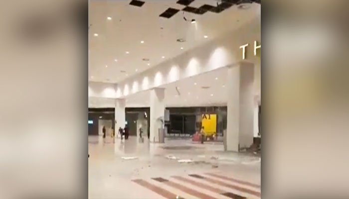 Ceiling at recently built Islamabad airport collapses after heavy rain