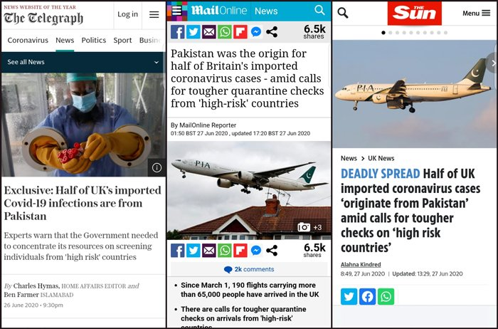 Influential UK newspapers accept mistake in accusing Pakistan for imported COVID-19 cases