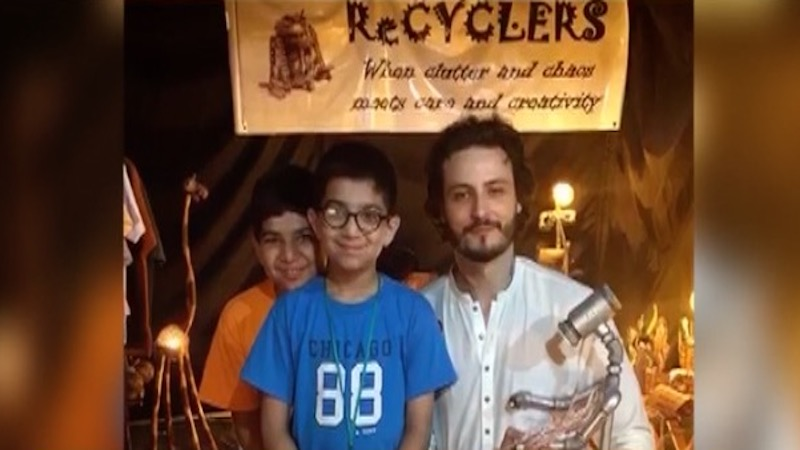 Two young boys from Karachi recycle plumbing pipes into creative lamps
