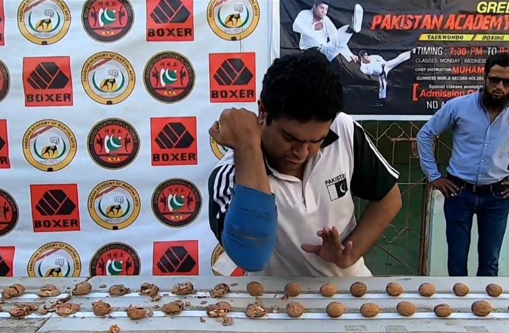Rashid Naseem breaks another Indian record of crushing most walnuts with an elbow