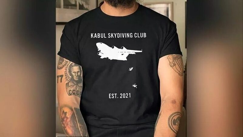 T-shirt showing Afghans falling from US aircraft