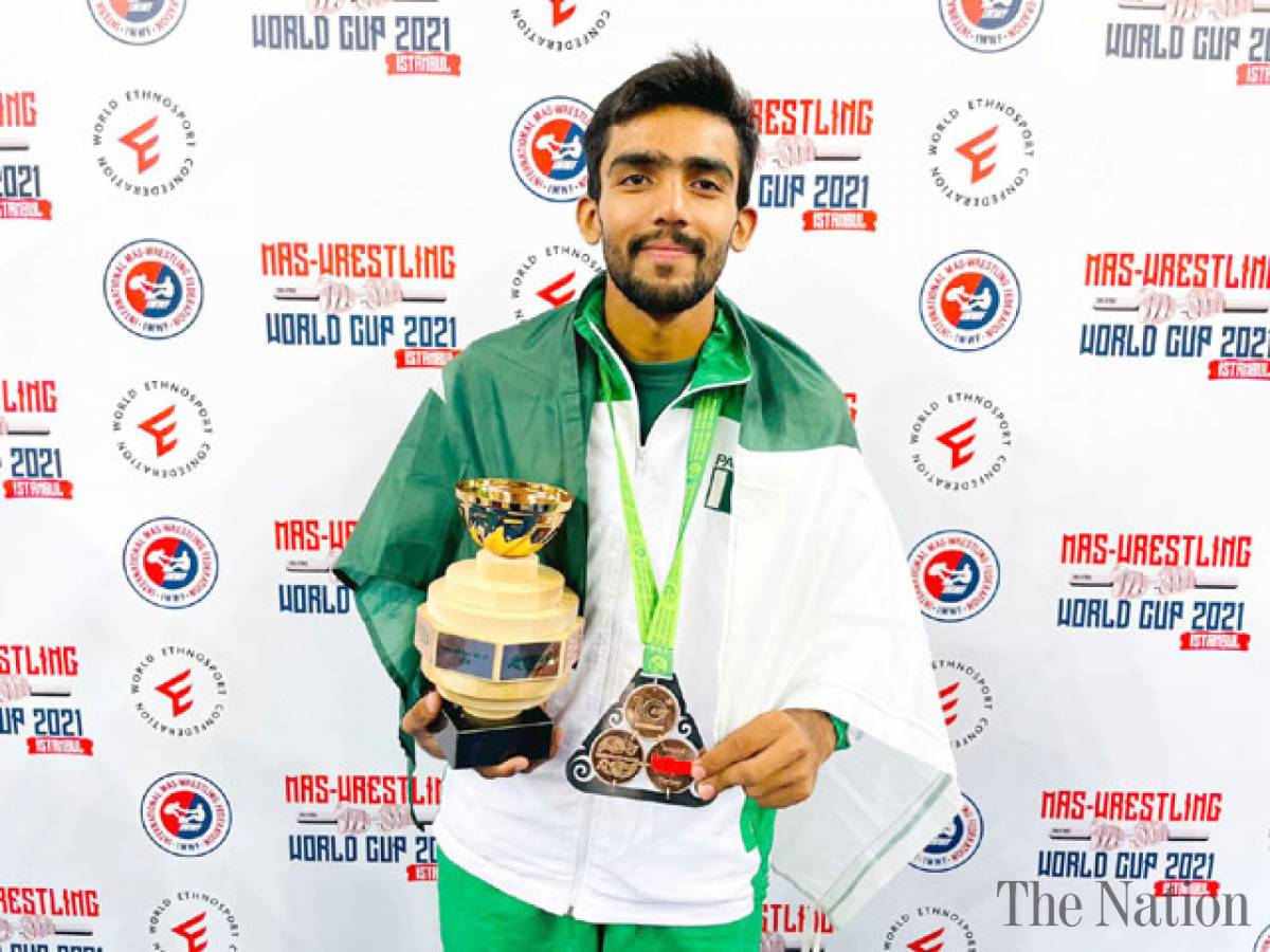 Pakistan's Muhammad Saad wins bronze medal at world cup Mas-Wrestling